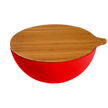 Yumi Nature+ Red Natural Bamboo Salad Bowl with Cover